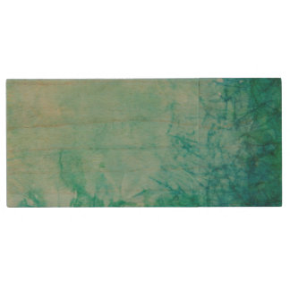 Paper With Blue, Green, And Black Paint Abstract Wood USB 2.0 Flash Drive