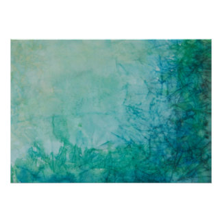 Paper With Blue, Green, And Black Paint Abstract Poster
