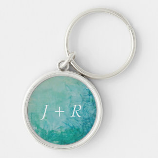 Paper With Blue, Green, And Black Paint Abstract Silver-Colored Round Key Ring