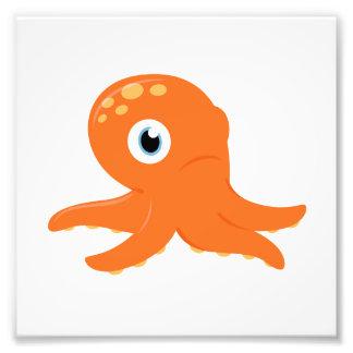 Paper with Octopus : orange Photo Print