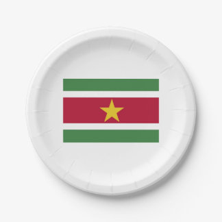 Papers placard (s) Surinamese flag. Paper Plate