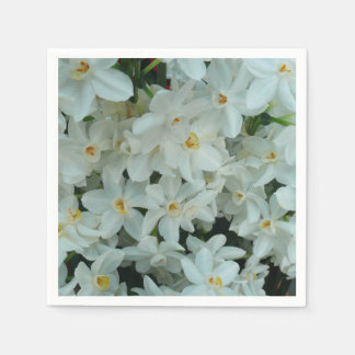 Paperwhite Narcissus Delicate White Flowers Disposable Serviettes