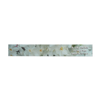 Paperwhite Narcissus Delicate White Flowers Wrap Around Label