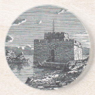 Paphos Cyprus medieval fort 19th century engraving Coaster