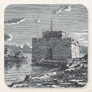 Paphos Cyprus medieval fort 19th century engraving Square Paper Coaster