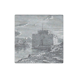 Paphos Cyprus medieval fort 19th century engraving Stone Magnet