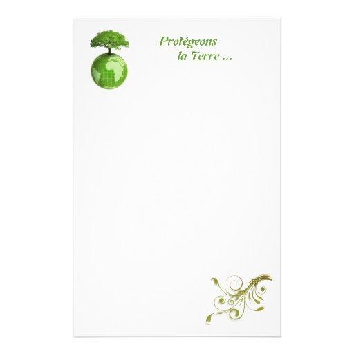 papier à lettre protection de la planète custom stationery