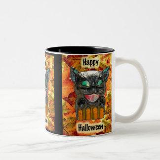 Papier Mache Halloween Cat Mug