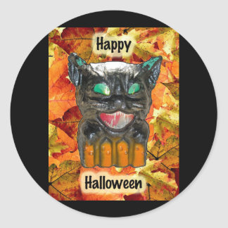 Papier Mache Halloween Cat Stickers