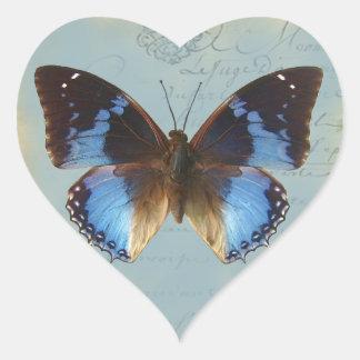 Papillon bleu heart sticker