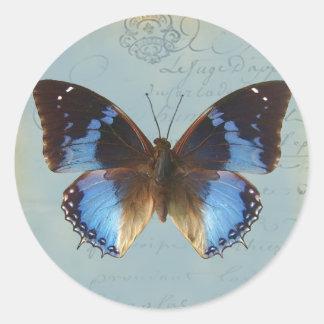 Papillon bleu round sticker
