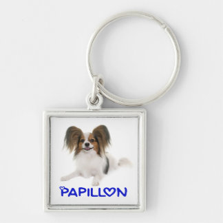 Papillon Brown and White Puppy Dog Blue Love Key Ring