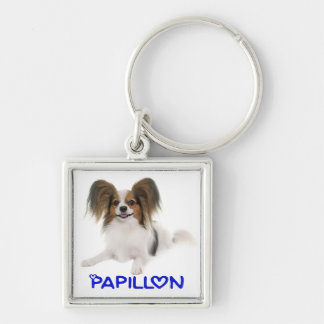 Papillon Brown and White Puppy Dog Love Key Ring