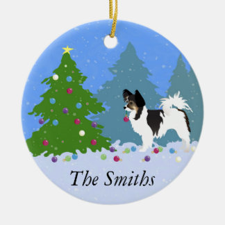 Papillon Dog Decorating Christmas Tree in Forest Ceramic Ornament