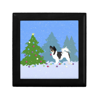 Papillon Dog Decorating Christmas Tree in Forest Gift Box