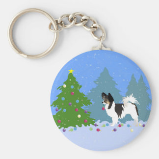 Papillon Dog Decorating Christmas Tree in Forest Key Ring