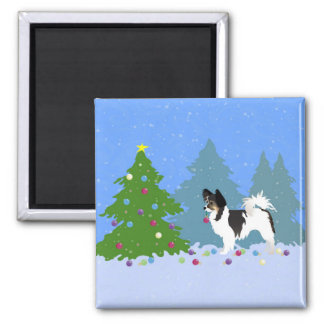 Papillon Dog Decorating Christmas Tree in Forest Magnet