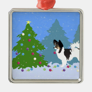 Papillon Dog Decorating Christmas Tree in Forest Metal Ornament