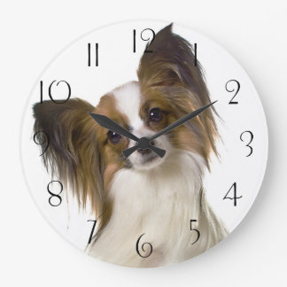 Papillon dog portrait large clock