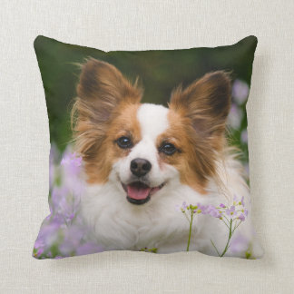 Papillon Dog Romantic Portrait, Square Cushion