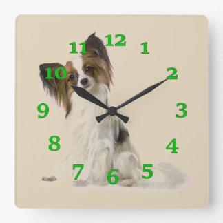 Papillon Dog Square Wall Clock