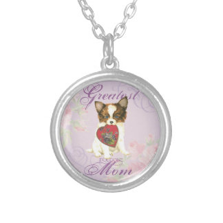 Papillon Heart Mom Silver Plated Necklace
