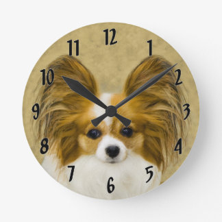 Papillon (Hound Tri Color) Round Clock