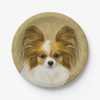 Papillon (Hound Tri) Painting - Original Dog Art Paper Plate
