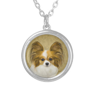 Papillon (Hound Tri) Painting - Original Dog Art Silver Plated Necklace