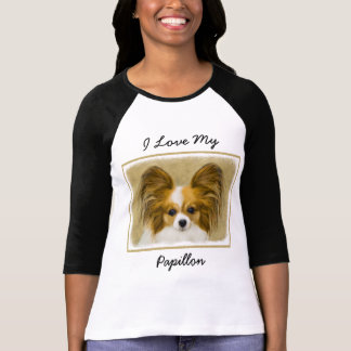 Papillon (Hound Tri) Painting - Original Dog Art T-Shirt