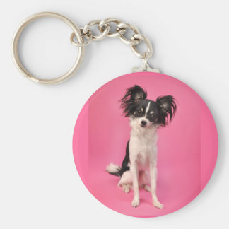 Papillon on Pink Key Ring