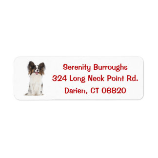 Papillon Puppy Dog Red Return Address Label
