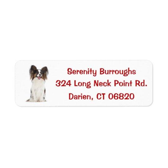 Papillon Puppy Dog Red Return Address Label