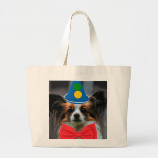 Papillon Puppy Dressed as a Clown Jumbo Tote Bag