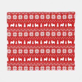 Papillon Silhouettes Christmas Pattern Red Fleece Blanket