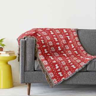 Papillon Silhouettes Christmas Pattern Red Throw Blanket