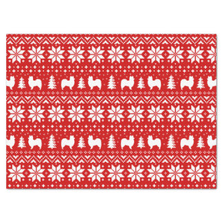Papillon Silhouettes Christmas Pattern Red Tissue Paper