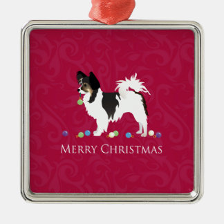 Papillon Toy Dog Breed Christmas Silhouette Metal Ornament