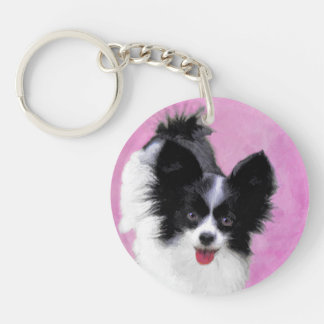 Papillon (White and Black) Painting - Dog Art Key Ring