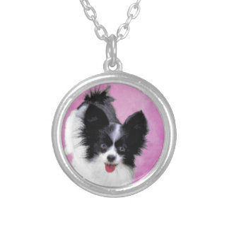 Papillon (White and Black) Painting - Dog Art Silver Plated Necklace