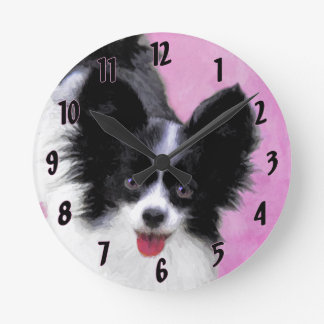 Papillon (White and Black) Round Clock