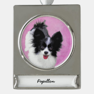 Papillon (White and Black) Silver Plated Banner Ornament