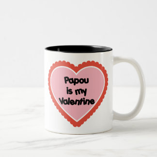 Papou is My Valentine Two-Tone Mug