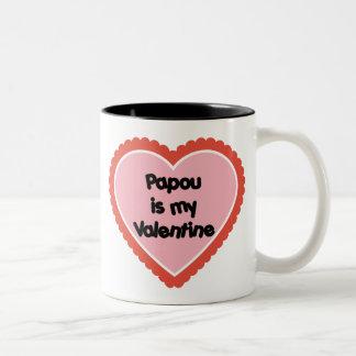 Papou is My Valentine Two-Tone Mug