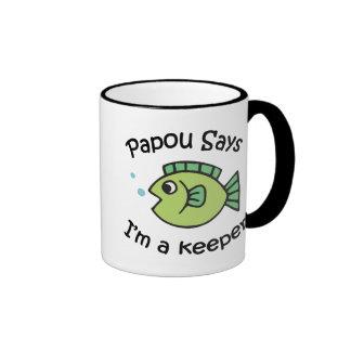 Papou Says I'm a Keeper Ringer Mug