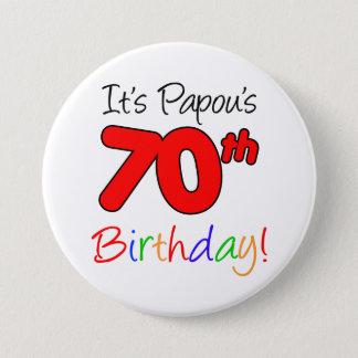 Papou's 70th Birthday Party Greek Grandpa Button