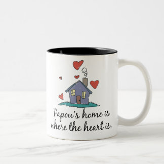 Papou's Home is Where the Heart is Two-Tone Coffee Mug