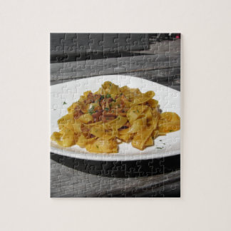 Pappardelle with mushrooms on rustic wooden table jigsaw puzzle