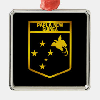 Papua New Guinea Emblem Silver-Colored Square Decoration