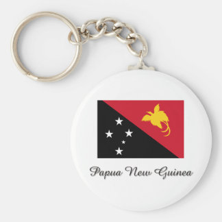Papua New Guinea Flag Design Basic Round Button Key Ring